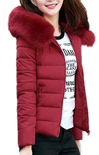 Brinny Hiver Veste en Coton Duvet Capuche Col Faux Fourrure Warm Femmes Dames Court Hooded Manteau Rembourr Matelass Blouson Jacket Coat Zipp Slim Grand Taille: L-5XL Vin Rouge
