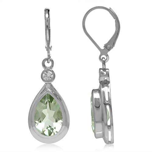 12x8MM Natural Pear Shape Green Amethyst & White Topaz 925 Sterling Silver Drop Leverback Earrings