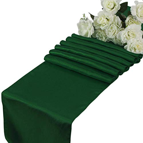 VDS - 10 PCS 12 x 108 inch Satin Table Runner for Wedding Banquet Décor Runners Charmeuse Silk Table Runner - Hunter Green