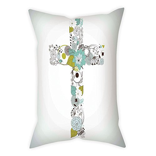 iPrint Microfiber Throw Pillow Cushion Cover,Baptism,Cross Made from Flowers Blessing Blossom newborn Catholic Party Illustration,Seafoam Avocado Green,Decorative Square Accent Pillow Case by iPrint