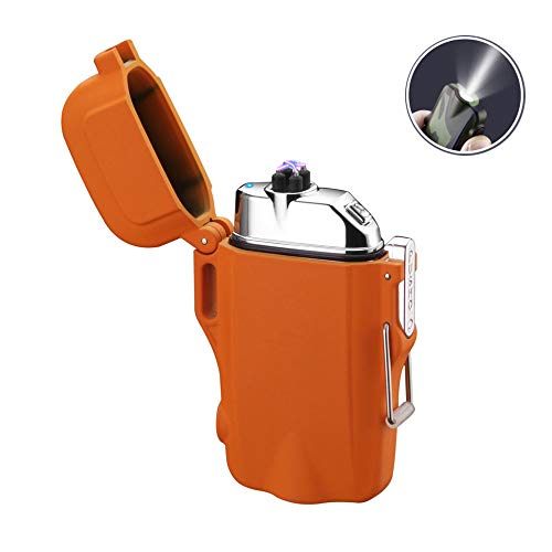 - Dual Arc Lighter Rechargeable Waterproof Flameless Windproof USB Plasma Mini Double Electric Lighter with Flashlight Double for Cigar Candle Cigarette Pipe(Orange)