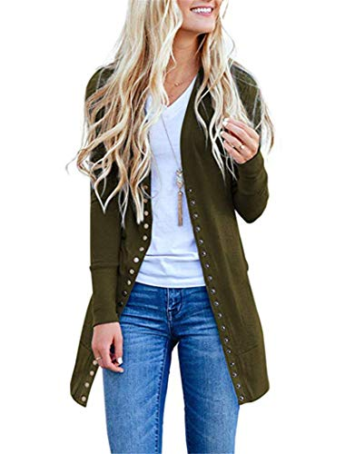 Solid Long Sleeve Cardigan - Womens Long Sleeve Cardigan Snap Button Down Solid Color Knit Cardigan Sweaters Large 815-army Green