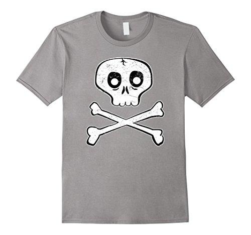 [Mens Cute Skull and Bones Distressed T Shirt Small Slate] (Skateboarder Costume)