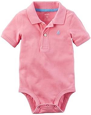 Carter's Baby Boys' Cotton Piqué Polo Bodysuit (12 months, salmon)
