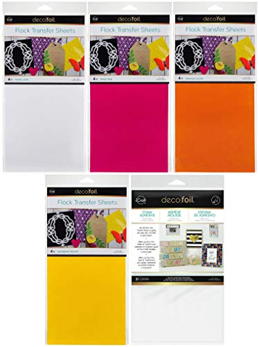 Deco Foil - Flock Transfer Sheets and Foam Adhesive Bundle - Warm Tones - Orange, Yellow, Pink and White Flock - 5 Items