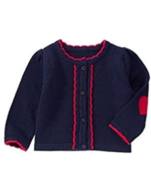 Infant Girls Scalloped Trim Cardigan Sweater- Navy - Size 0/3 Months