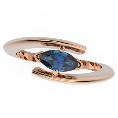 HABY MARQUISE Bagues Or Rose 18 carats Saphir Bleu 0,6 Marquise