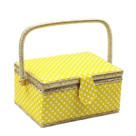 Polka Dot Sewing Basket with Handles Home Storage Box Mother's Day Gift, 31 PCS Sewing Kit Accessories, 9.4'' x 6.9'' x 5.9'' 1 Kit/Box (5 Boxes) by D&D