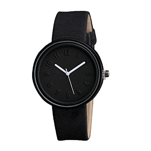 Charberry Unisex Simple Number Watches Quartz Canvas Belt Wrist Watch (Black Belt Watch)