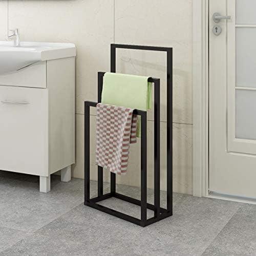 noir accessoires de salle de bain JURMERRY Porte-serviettes sur pied-Organisateur en m/étal /à 3 niveaux pour serviettes de bain et /à main