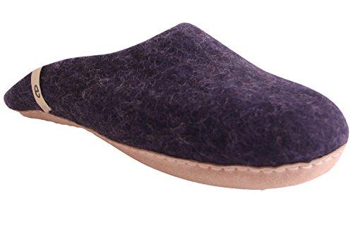 Egos Huis Slippers: 100% Natuurlijke Schapenwol Handgemaakte Slippers | Warm, Zeer Comfortabel En Vochtabsorberend | Deluxe Slip Op Slippers Met Anti-slip Leren Zool | Slaapkamer Blauw