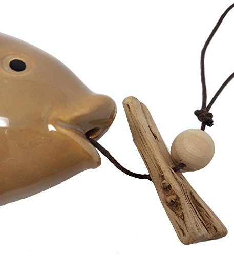 Private Label Driftwood Ceramic Windchimes Outdoor Hanging Garden Mobile Bell Rustic Country Farmhouse Decor (28'' Fish) by Private Label (Image #3)