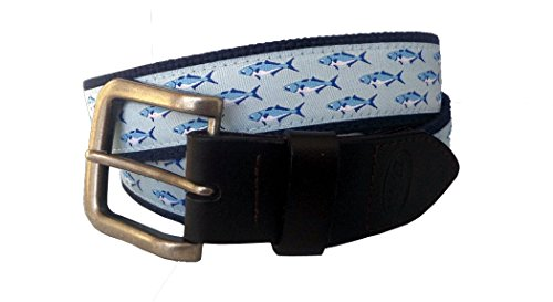 - No27 Men's Bluefish Nautical Leather Belt, Bluefish Ribbon on Navy, Size 38 waist