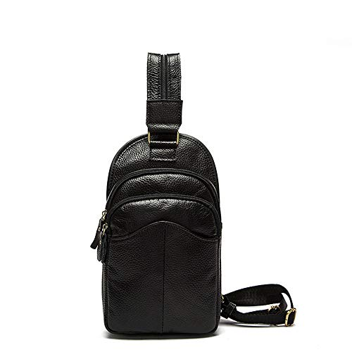 de Bag Hombres Travel Hombres Café Mensajero Pecho Sport Sports de Cuero Daypack Negro Hiking Riding Fitness Informal Color de para de Hombro Bolso Running Bolso Yamyannie Casual WX4nxgww