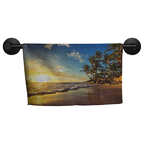 (Ocean,Gym Towel Image of Palm Trees on Exotic Beach at Sunset with Waves in The Ocean Dominican Paradise Fast Drying Fitness Hand Towels W 35