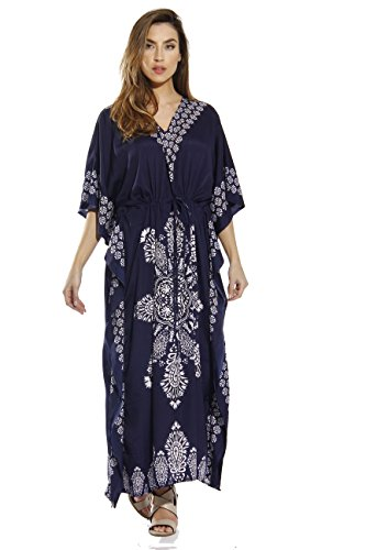 Riviera Sun 21715-NVY-XL Caftan/Caftans for Women, Navy, X-Large (Caftan Rayon)