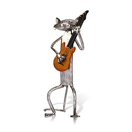 Tooarts A Playing Guitar Cat Metal Sculpture Iron Statue Handwork Handicrafts, 3 Funny Design (Sculpture Animal Metal)