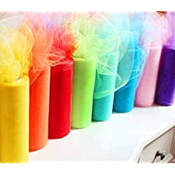 Charmed Rainbow color tulle assortment, 6 inch by 25 yard spool (8 pack )