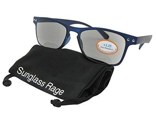 Style R60 Lightweight Full Lens Reading Sunglasses With Sunglass Rage Pouch (Blue Frame-Gray Lenses, - Wafer Sunglasses Style