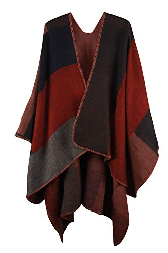 VamJump Women Winter Cashmere Oversized Blanket Poncho Cape Shawl Cardigan Coat, Red, ()
