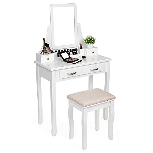 SONGMICS Vanity Makeup Table Set with Mirror and Stool Dressing Table 6 Organizers 4 Drawers White URDT12W
