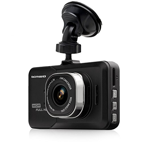 Binwo Dashboard Camera Recorder, FHD 1080P Car Dash Cam Camcorder, 170 Wide Angle Black Box Video Recorder Car DVR Camera with G-Sensor, Loop Recording, Motion Detection