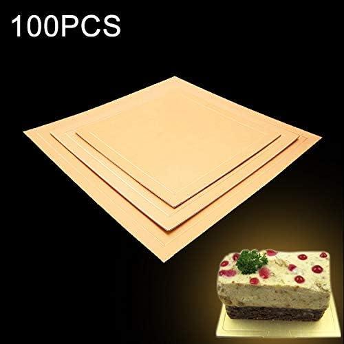 マフィン紙 スクエアケーキ段ボールパッドゴールデンケーキムースケーキマット、サイズ:18 X 18センチメートル、100 PCS