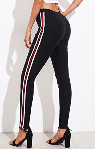 Patchwork Donna Pantaloni Skinny Alta da Running Fitness Vita Lungo Nero Moda a Leggings Pantalone rzqnrwZ0