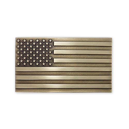 Indiana Metal Craft American Flag Solid Brass Belt Buckle Made in USA OBM175