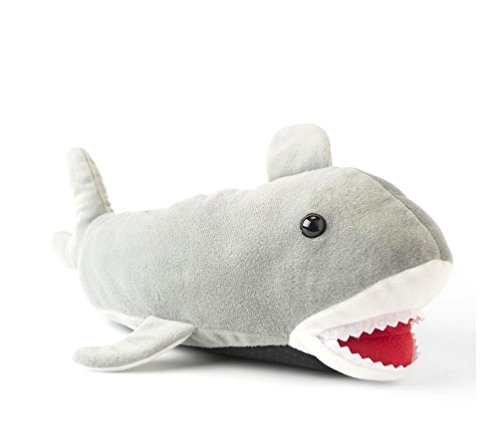 Adult Size Gray Shark Fuzzy Plush Slippers