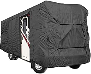 Waterproof Durable RV Motorhome Fifth Wheel Cover Covers Class A B C Fits Length 31'-34' New Travel Trailer Camper Zippered Panels Allow Access To The Door, Engine And Both Side Storage Areas