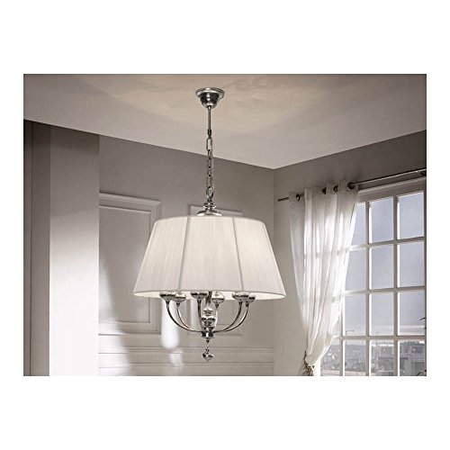 Schuller Spain 301012I4L Traditional Silver Round Lamp Shade Pendant white 6 Light Dining Room, Living Room, Hallway, Bedroom | ideas4lighting by Schuller