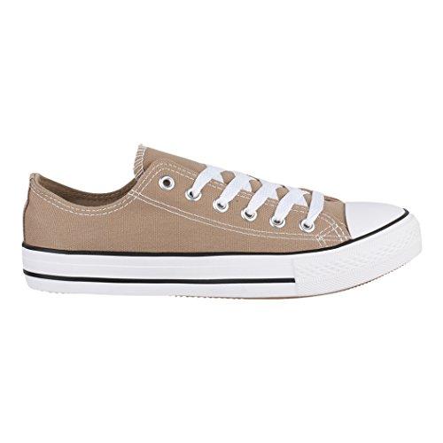 Größer für Schuhe Herren Elara Fällt Sportschuhe Khaki Turnschuh Sneaker Unisex Damen 36 Eine Nummer und Textil Aus 46 Low Bequeme Top Basic 7IRg7