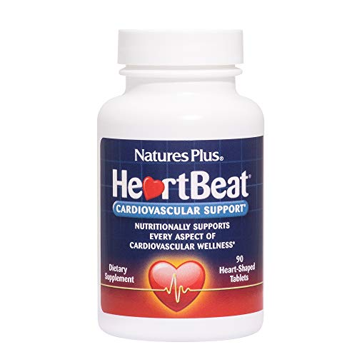 Natures Plus Heartbeat - 90 Vegan Tablets - Cardiovascular Support Supplement with Vitamins, Minerals & Herbs, Promotes Healthy Blood Pressure & Heart - Vegetarian, Gluten Free - 30 Servings