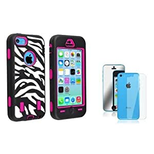 Bloutina Everydaysource Compatible with Apple iPhone 5C Hot Pink Hard/ Black White Zebra Skin Hybrid Case + 2 LCD Kit...