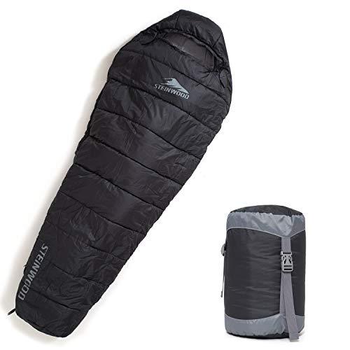 Steinwood Premium Schlafsack koppelbar Kompakt 4-Season 210cm – Outdoor-Schlafsack, Mumien-Schlafsack, Hütten-Schlafsack