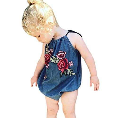 Sunbona Infant Newborn Baby Girls Denim Flower Embroidery Strap Romper Jumpsuit Pajamas Summer Outfits Clothes (18M(12~18months), Blue) - Denim Baby Bedding