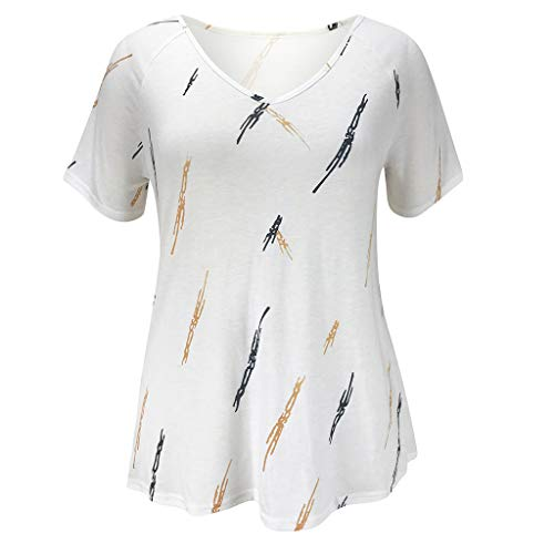 Nuewofally Women's Short Sleeve V-Neck Loose Casual Tee T-Shirt Tops Summer Casual Print Tops Blouse (White,L) ()