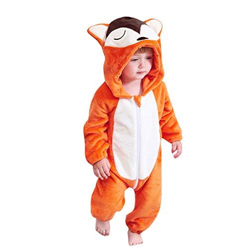 Shan-S Boy Baby Romper, Autumn Winter Newborn Baby Girl Boy Cartoon Animal Fox Hooded Long Sleeve Rompers Flannel Jumpsuit Warm ()