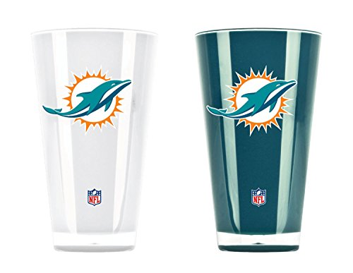 NFL Miami Dolphins 20oz Insulated Acrylic Tumbler Set of -