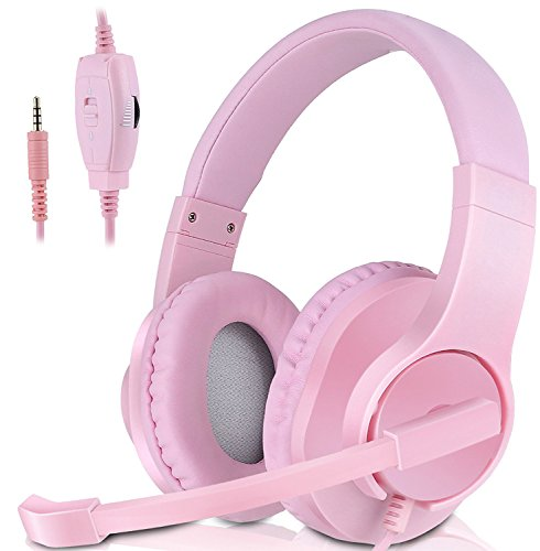 Headset Gaming for PS4 ,Xbox One Controller ,Wired Noise Isolation, Over-Ear Headphones with Mic ,Stereo Gamer Headphones 3.5mm (Pink) by Haizhixuan
