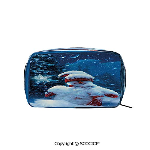 Printed Makeup Bag Organizer toiletry bags Snowman with Magic Wand and Fir Branches Covered with Snow Winter Night Decorative Rectangle Cosmetic Bags for Girls Ladies