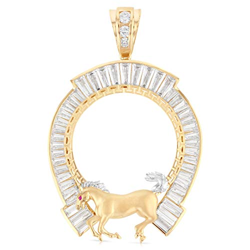 Ioka - 14K Two Tone Gold Horse Shoe Baguette CZ Frame 50 Pesos Coin Charm Pendant For Necklace or Chain