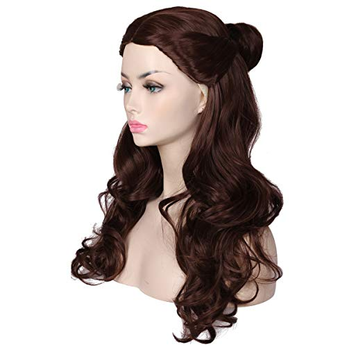 ColorGround Women's Long Wavy Brown Prestyled Cosplay Costume Wig with Detachable Bun -