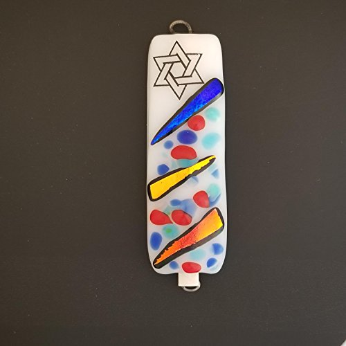 Handmade Fused Glass Art Mezuzah, Dichroic Fused Glass Mezuzah, Jewish Gift, Star of David Mezuzah, Blue, Yellow, and Orange Home Blessing