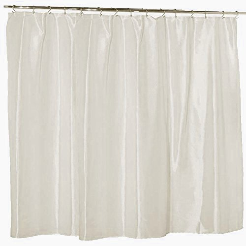 Waterproof Nylon - Soft as Silk - Mildew Resistant Fabric Shower Curtain Liner, 108 Inch Extra Wide x 72 Inch Long - Ivory