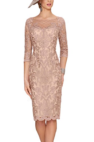 Newdeve Women's Mother of The Bride Dresses with Lace Jacket Short for Wedding (12, Dusty Rose)