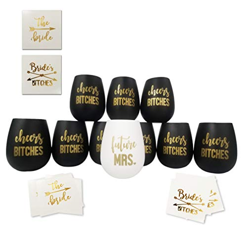 Cheers Bitches Bachelorette Party Silicone Wine Glass- Set 10 Black and Gold Glasses with Temporary Tattoos - Bridesmaid Wedding Gift Party Favors - Bachelorette Party Supplies]()