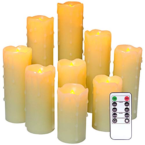 DRomance Flameless Flickering Dripping Candles Battery Operated with Remote and 2/4/6/8 Hour Timer, Set of 9 Ivory Real Wax LED Pillar Candles Warm Light Christmas Home Decoration(D 2.2