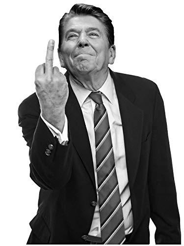 - LA STICKERS Ronald Reagan Middle Finger - Sticker Graphic - Auto, Wall, Laptop, Cell, Truck Sticker for Windows, Cars, Trucks